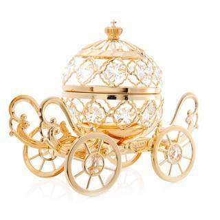 Goldplated Cinderella Inspired Pumpkin Coach Made with Genuine Matashi Crystals