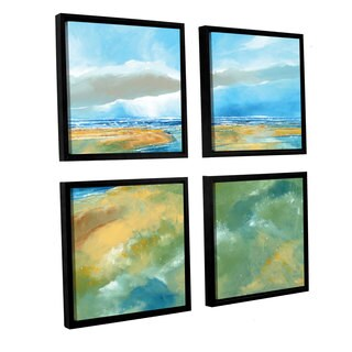 Stuart Roy's 'A Blustry Day Near Salthouse' 4-piece Floater Framed Canvas Sqare Set