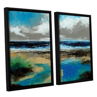 Stuart Roy's 'Seascape I' 2-piece Floater Framed Canvas Set