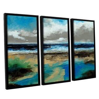 Stuart Roy's 'Seascape I' 3-piece Floater Framed Canvas Set