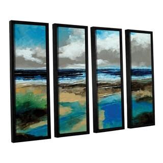 Stuart Roy's 'Seascape I' 4-piece Floater Framed Canvas Set