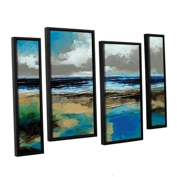 Stuart Roy's 'Seascape I' 4-piece Floater Framed Canvas Staggered Set