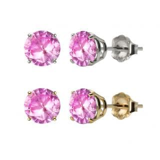 10k White Gold or Yellow Gold 8mm Round Created Pink Sapphire Stud Earrings