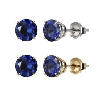 10k White Gold or Yellow Gold 8mm Round Created Blue Sapphire Stud Earrings