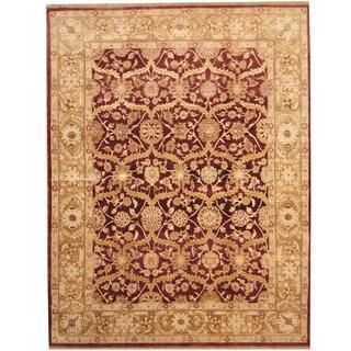 Herat Oriental Indo Hand-knotted Ziegler Burgundy/ Gold Wool Rug (7'9 x 10')