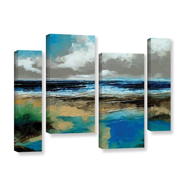 Stuart Roy's 'Seascape I' 4-piece Gallery Wrapped Canvas Staggered Set