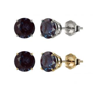 10k White Gold or Yellow Gold 8mm Round Lab-Created Alexandrite Stud Earrings