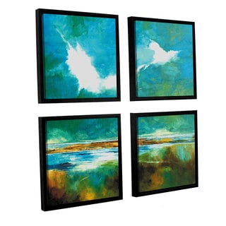 Stuart Roy's 'Seascape II' 4-piece Floater Framed Canvas Sqare Set