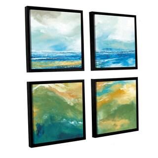 Stuart Roy's 'Seascape III' 4-piece Floater Framed Canvas Sqare Set