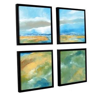 Stuart Roy's 'Seascape IV' 4-piece Floater Framed Canvas Sqare Set
