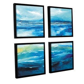 Stuart Roy's 'Seascape V' 4-piece Floater Framed Canvas Sqare Set