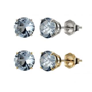 10k White Gold or Yellow Gold 8mm Round Lab-Created Aquamarine Stud Earrings