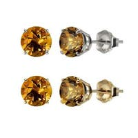 10k White Gold or Yellow Gold 8mm Round Citrine Stud Earrings
