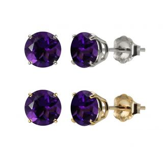 10k White Gold or Yellow Gold 8mm Round Amethyst Stud Earrings