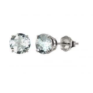 10k White Gold or Yellow Gold 8mm Round Genuine Aquamarine Stud Earrings