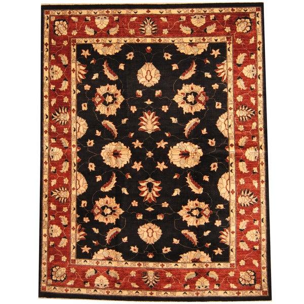 Handmade Herat Oriental Afghan Vegetable Dye Oushak Wool Rug (Afghanistan) - 7'9 x 10'