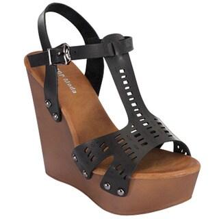 Beston CC28 Women's T Strap Wedge Sandals