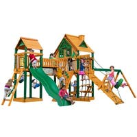 Gorilla Playsets Pioneer Peak Treehouse Cedar Swing Set with Fort Add-On and Timber Shield Posts