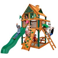 Gorilla Playsets Chateau Tower Treehouse Cedar Swing Set with Timber Shield Posts - Brown