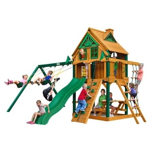 Gorilla Playsets Chateau Treehouse Swing Set with Fort Add-On and Timber Shield