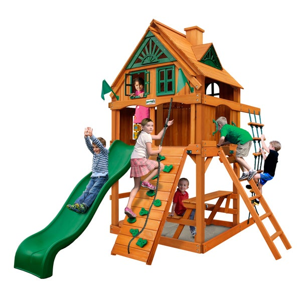 Gorilla Playsets Chateau Treehouse Tower Swing Set with Fort Add-On and Amber Posts