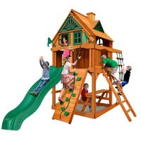 Gorilla Playsets Chateau Treehouse Tower Cedar Swing Set with Fort Add-On and Natural Cedar Posts