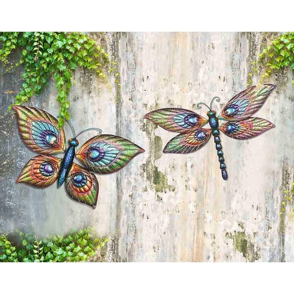 Sunjoy Butterfly And Dragonfly Hand Painted Outdoor Wall Decor Set Of 2 Overstock 11551154
