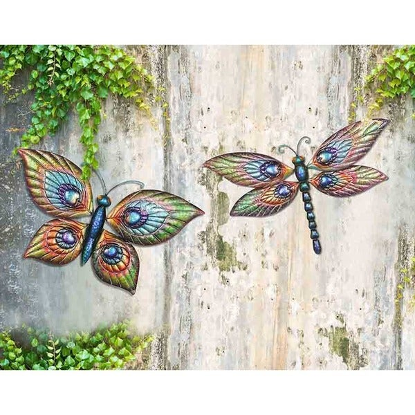 Sunjoy Butterfly and Dragonfly Hand-painted Outdoor Wall Decor (Set of 2)  sc 1 st  Overstock.com & Shop Sunjoy Butterfly and Dragonfly Hand-painted Outdoor Wall Decor ...