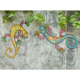 Sunjoy Gecko Hand-painted Blue/ Yellow Metal Outdoor Wall Decor (Set of 2)