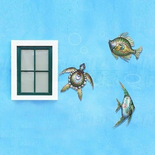 Sunjoy Sea Life Hand-painted Iron Outdoor Wall Decor Set