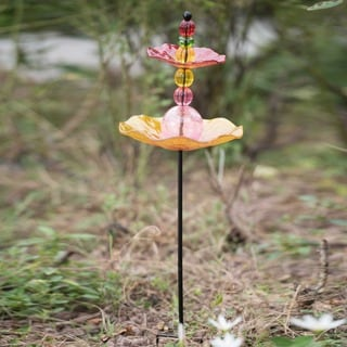 Sunjoy Glass Bird Feeder Garden Stake