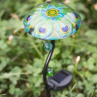 Sunjoy Mushroom LED Solar Garden Stake Iron and Glass in Set of 3 with Peacock Des