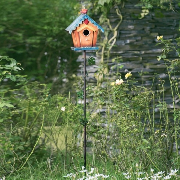 Birdhouse Garden: Shop Sunjoy Square Birdhouse Garden Stake