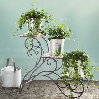 Sunjoy Stair Step Metal and Wood Plant Stand