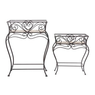 Sunjoy Wrought Iron and Wood Plant Stands in (Set of 2)