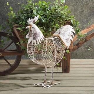 Sunjoy Antique White Rustic Chicken Wire Rooster Garden Sculpture