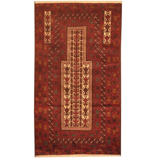 Herat Oriental Afghan Hand-knotted 1980s Semi-antique Tribal Balouchi Red/ Navy Wool Rug (2'10 x 5')