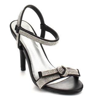 C LABEL AB96 Women's Glitter Rhinestone Ankel Velcro Stiletto Party High Heels
