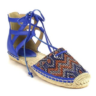 Beston AB79 Women's Lace Up Tribal Espadrille Flats