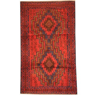 Herat Oriental Afghan Hand-knotted 1980s Semi-antique Tribal Balouchi Wool Rug (2'9 x 4'7)