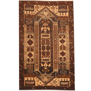 Herat Oriental Afghan Hand-knotted 1980s Semi-antique Tribal Balouchi Ivory/ Navy Wool Rug (2'10 x 4'6)