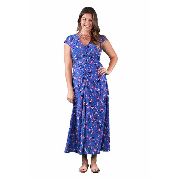 9a21b7a736f Shop 24 7 Comfort Apparel Women s Plus Size Blue-Pink Rose Maxi Dress -  Free Shipping Today - Overstock - 11551230