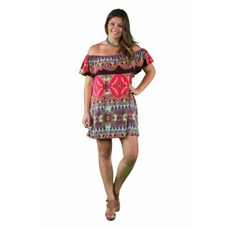 24/7 Comfort Apparel Women's Plus Size Pink-Brown Mandala Off Shoulder Dress