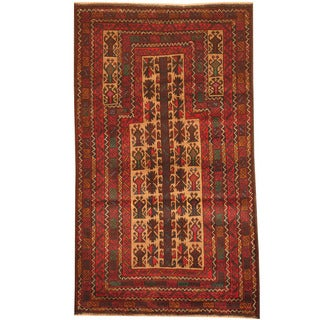 Herat Oriental Afghan Hand-knotted 1980s Semi-antique Tribal Balouchi Beige/ Navy Wool Rug (2'10 x 5')