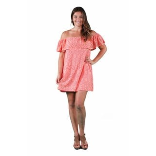 24/7 Comfort Apparel Women's Plus Size Coral Lace Off Shoulder Dress