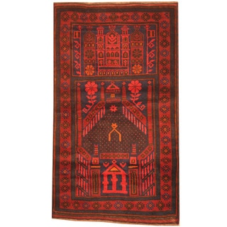 Herat Oriental Afghan Hand-knotted 1980s Semi-antique Tribal Balouchi Red/ Navy Wool Rug (2'10 x 4'10)