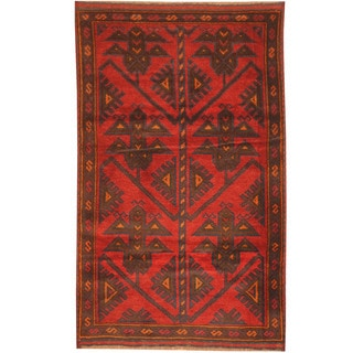 Herat Oriental Afghan Hand-knotted 1970s Semi-antique Tribal Balouchi Red/ Navy Wool Rug (2'9 x 4'7)