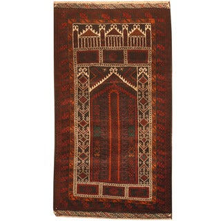 Herat Oriental Afghan Hand-knotted 1970s Semi-antique Tribal Balouchi Red/ Ivory Wool Rug (2'6 x 4'6)