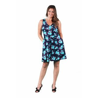 24/7 Comfort Apparel Women's Plus Size Floral Sleeveless A-line Dress