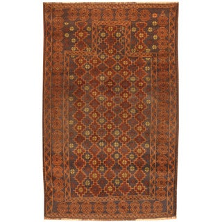 Herat Oriental Afghan Hand-knotted 1970s Semi-antique Tribal Balouchi Navy/ Brown Wool Rug (2'11 x 4'7)